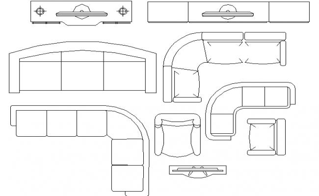 general living room furniture blocks design details dwg file
