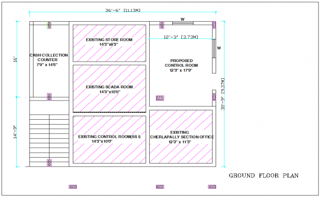 General plan of ground floor plan for office with architectural view dwg file