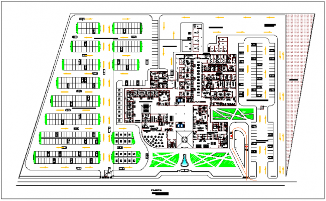 General plan of pediatric hospital dwg file