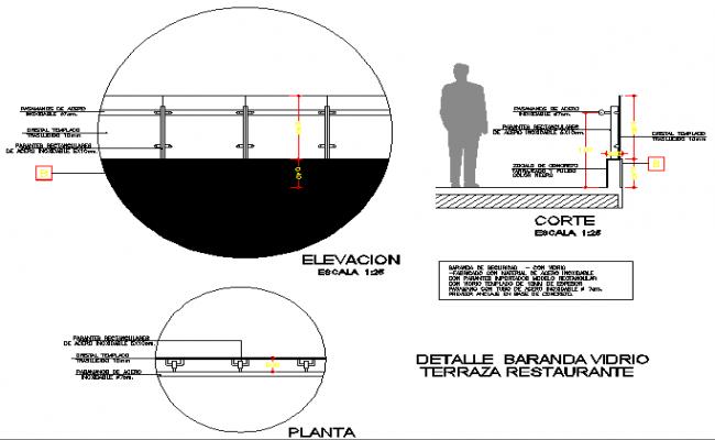 Glass railing of terrace restaurant details dwg file