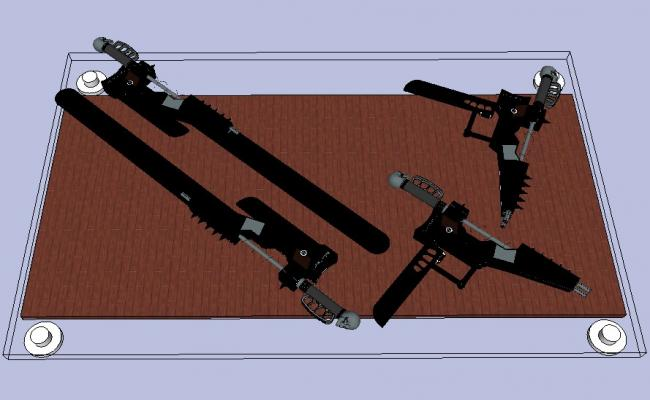 Glass table 3d elevation block with guns cad drawing details skp file