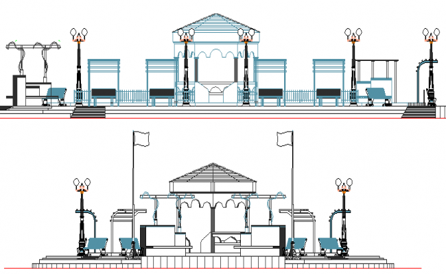 Government Building Design and Elevation dwg file