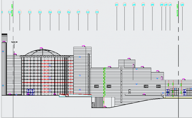 Government Building Elevation design dwg file
