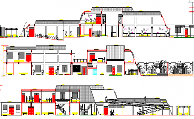 Government Museum Architecture Design and Elevation dwg file