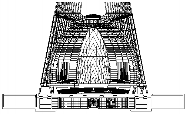 Government Museum Plan and Elevation dwg file.