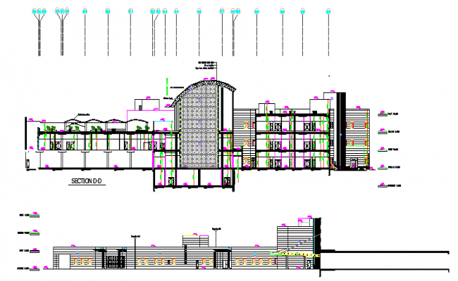 Government Building Section plan dwg file