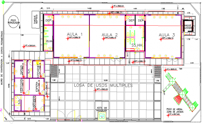Government School Design and Structure Details dwg file