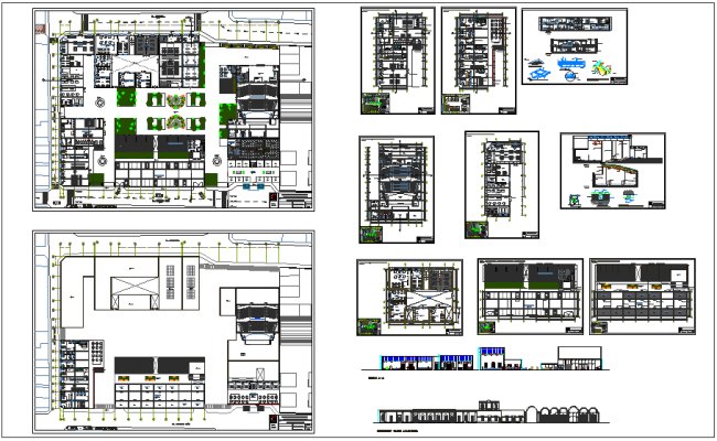 Government building civic center with art center plan and elevation dwg file