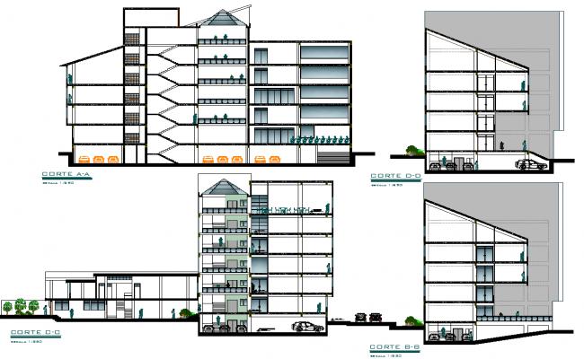 Elevation Plan Description : Government building elevation section view detail dwg file