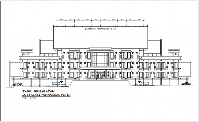 Government building elevation with network of water line dwg file