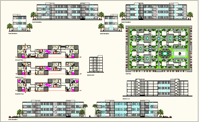 Government building of circuit house with plan,elevation and sectional view dwg file
