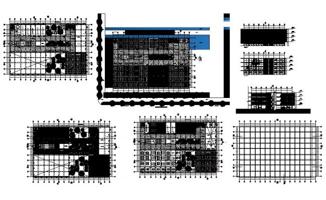 Government city library all sided elevation, section, plan and auto-cad details dwg file