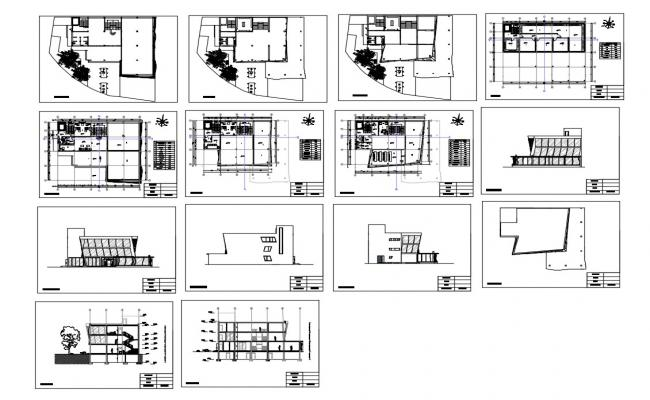Government museum building all sided elevation, section, floor plan and auto-cad details dwg file