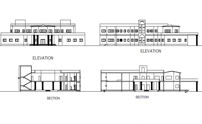 Gram panchayat elevation and section detail dwg file