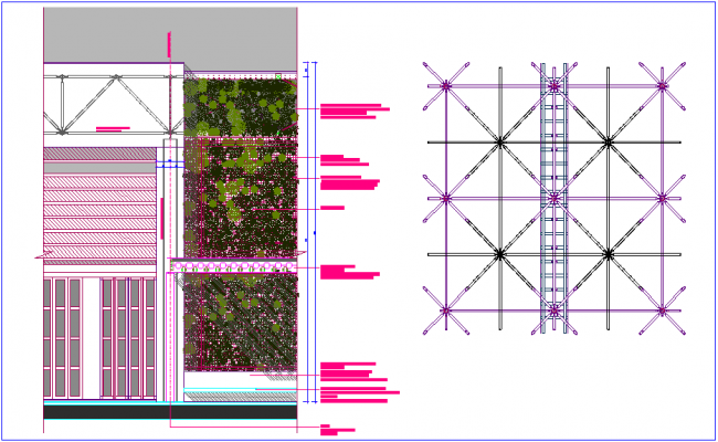 Green wall design structure design view dwg file