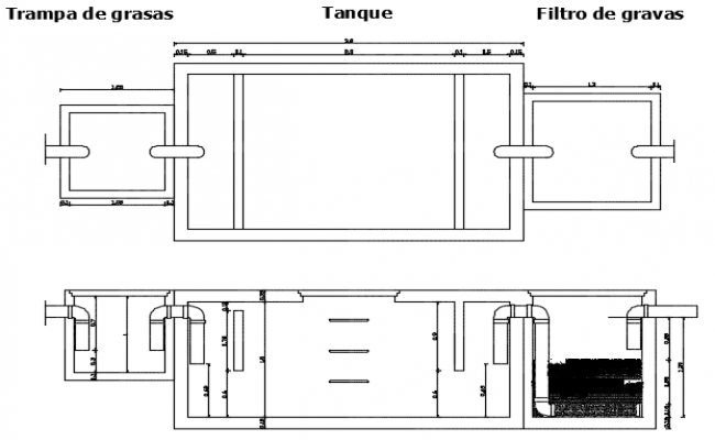 Grey water filter plan and section detail dwg file