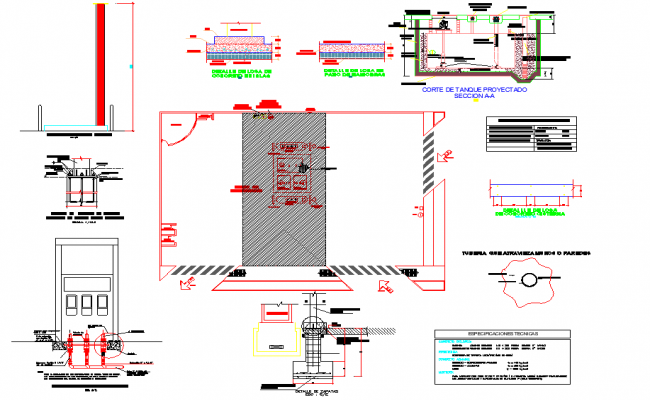 Grifo project or service station plan dwg file