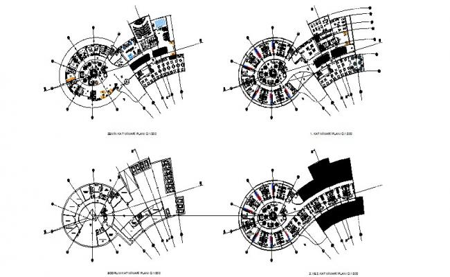 Ground, first, second and third floor plan details of luxuries hotel dwg file
