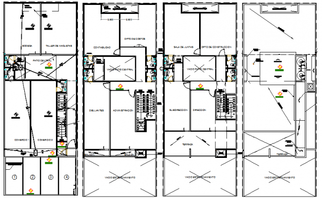 floor plan of the office. Ground, First, Second And Top Floor Layout Plan Of Office Building Dwg File The