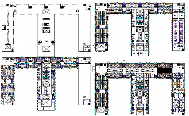 Ground, first, second & top floor plan of multi-specialty hospital dwg file