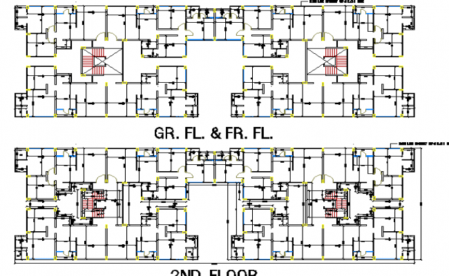 Ground first and second floor layout plan of residential for Apartment building layout
