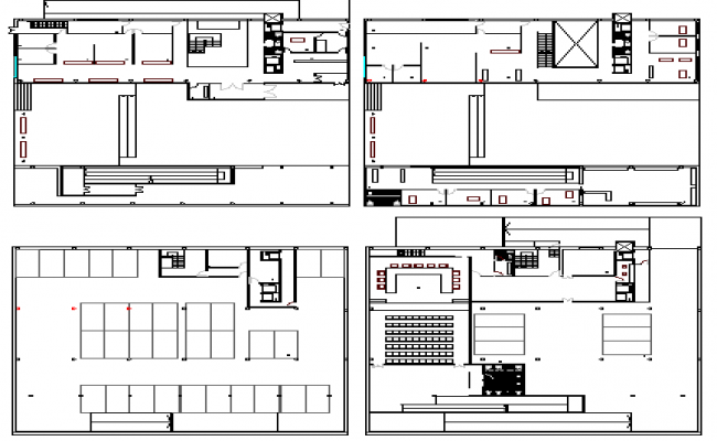 Ground, first, second and top floor layout plan of government council building dwg file