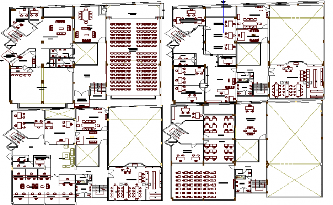 Ground, first, second and top floor layout plan of office building dwg file