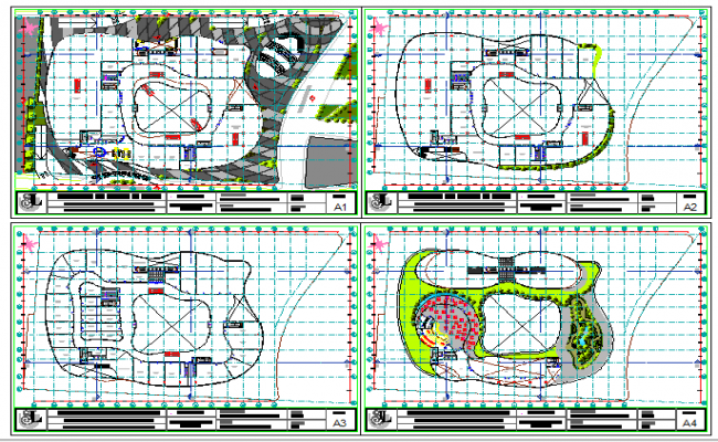 Ground, first, second and top floor plan details of high rise building dwg file