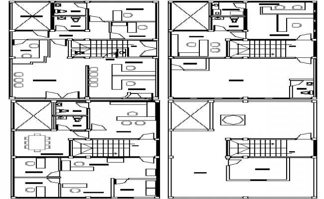 Ground, first, second & top floor plan layout of corporate office building dwg file