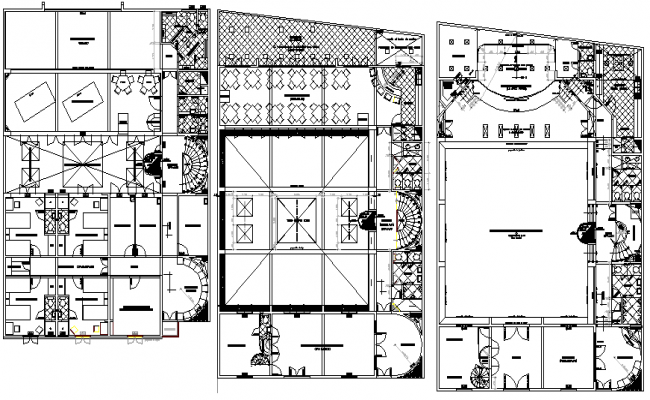 Ground, first & second floor layout plan, administration building dwg file