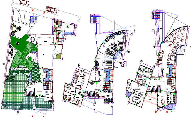 Ground, first & second floor layout plan, municipality corporation building dwg file