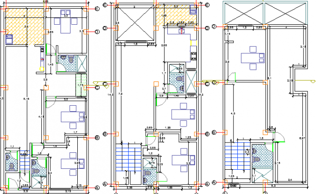 Ground, first and second floor plan of Multi-family house dwg file