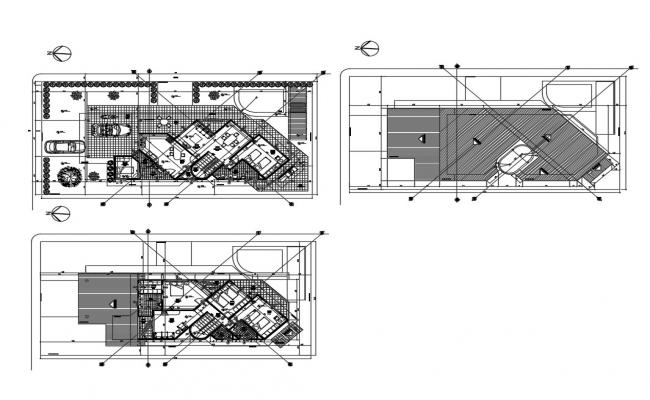 Ground, first and terrace plan details of two-story house dwg file