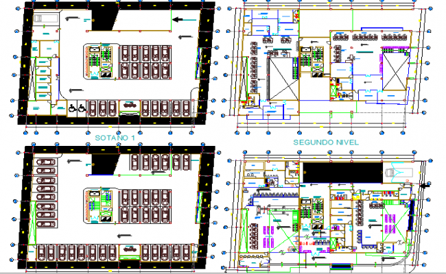Ground, first and top floor layout plan details of admin building dwg file