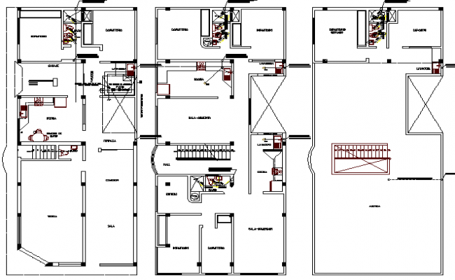 Ground, first and top floor layout plan of multi-level house dwg file