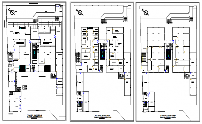 Ground, first and top floors layout plan of municipal office dwg file