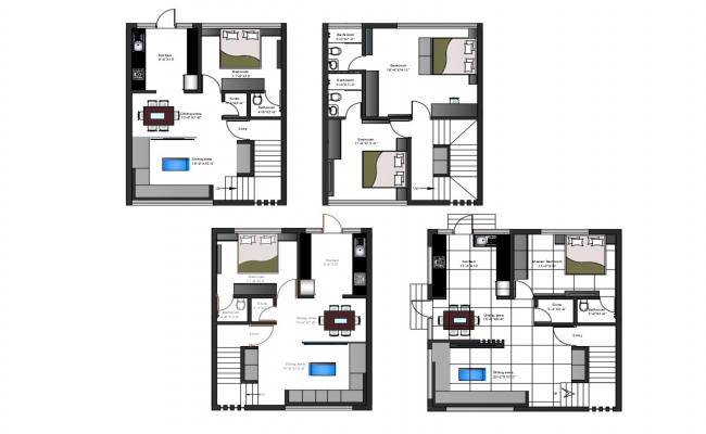 Ground And First Floor Plans Bungalow With Furniture Layout AutoCAD File