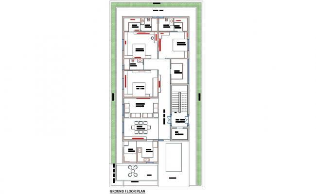 Ground Floor Plan Of Huge Bungalow Layout Design DWG