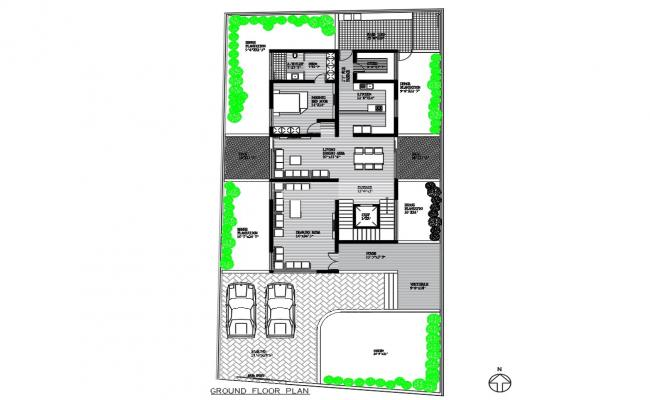 Ground Floor Plan Of Residential Building Design CAD File