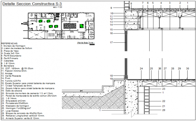 Ground Floor Tower I sectional view with construction detail dwg file