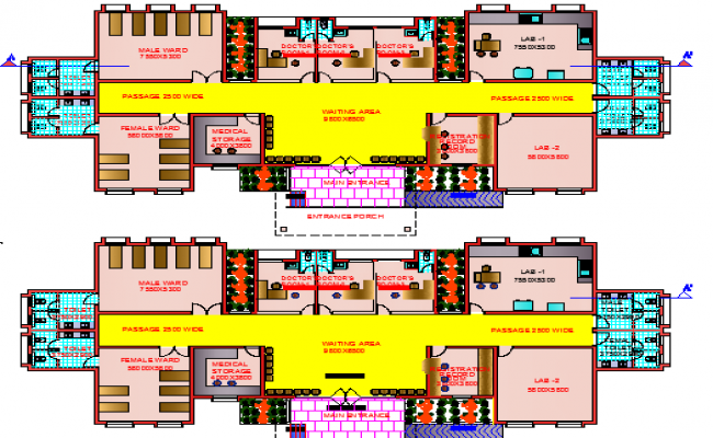 Ground and First Floor Plan of Primary Care Clinic Public Health Services dwg file