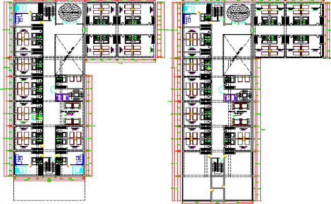 Ground and first floor layout plan details of five star hotel dwg file