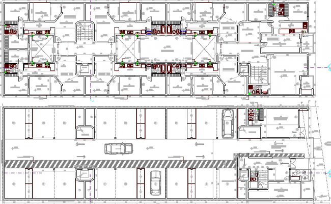 Ground and first floor layout plan of residential building dwg file