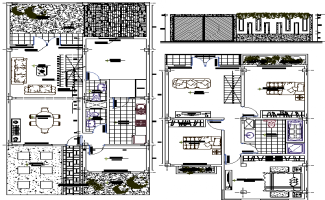 Ground and first floor layout plan of two flooring house design dwg file