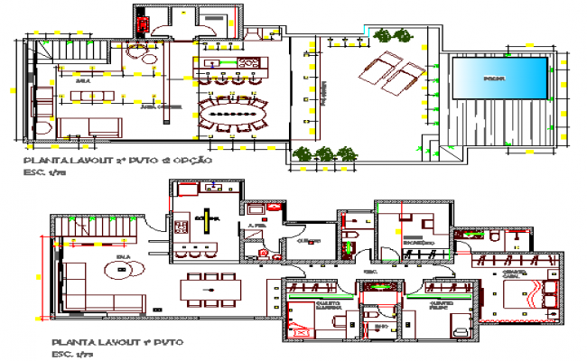 Ground and first floor layout plan of villa type bungalow dwg file