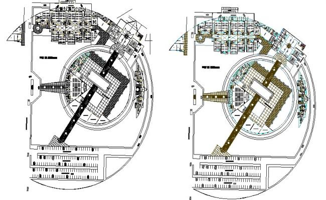 Ground and first floor plan details of college building dwg file