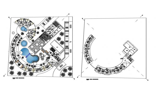 Ground and first floor plan details of luxuries hotel dwg file