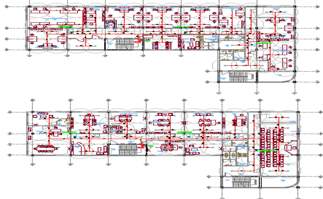 Ground and first floor plan layout details of admin office dwg file