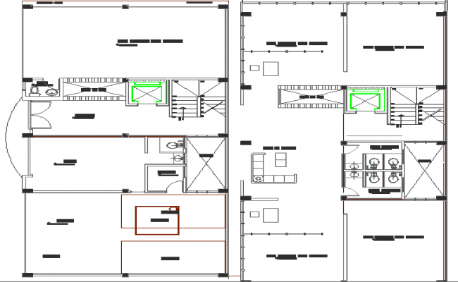 Ground and first floor plan layout of multi-flooring admin office building dwg file