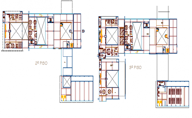 Ground and first floor plan layout of municipality building dwg file